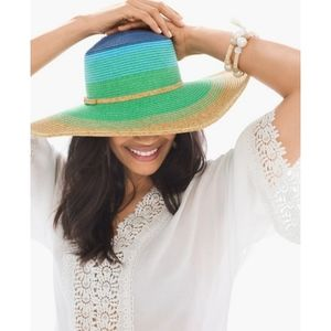 Chicos Ombre Hat in Natural/Blue/Green/Yellow Trim